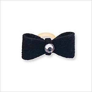 Tiny Rubber Band Hair Bow with Crystals for Dogs   Black