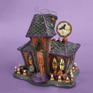 10.25 Pre Lit Glittered Haunted House Halloween Table Top