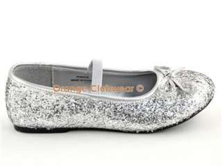Girls Children Youth Halloween Costume Silver Glitter Mary Jane Shoes