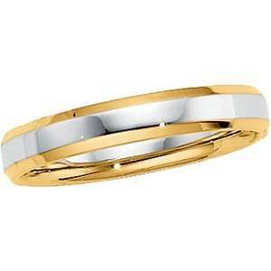 14K Two Tone Gold Design Band Ring Size 6 1/2 Jewelry