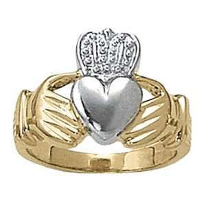14K Two Tone Gold Claddagh Ring Jewelry