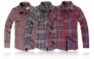 Noble Long Sleeved Plaid Casual Mens Slim Shirt 3 Colors 4 Sizes