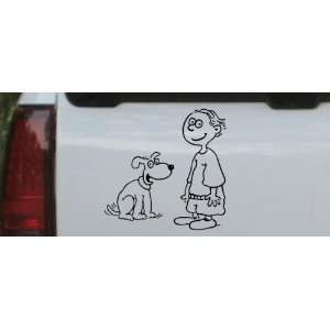 Black 18in X 18.0in    Child With Dog Stick Family Car Window Wall