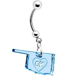 Light Blue State of Oklahoma Belly Ring Jewelry