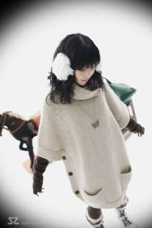 New Korean Women Cowl Neck Sweater Knit Top Long 0800