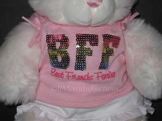 Build A Bear Plush White Pink BFF Best Friends Forever Teddy Stuffed