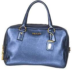 Prada Vitello Metallic Leather Bowler Bag