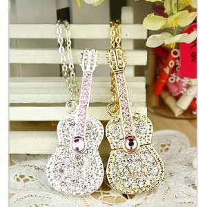 8 GB Guitar Shape Crystal Jewelry USB Flash Drive Necklace