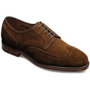 Allen Edmonds Mens Players Snuff Suede Wing tip Lace up Dress Shoe