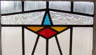 Pair of Antique Stained Glass Windows Art Deco Star