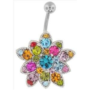 Gem Burst Flower Belly Button Ring Jewelry