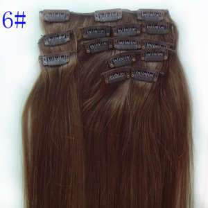 18 CLIP IN REAL HUMAN HAIR EXTENSIONS #6 MEDIUM BROWN