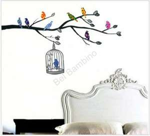 COLOURFUL BIRD CAGE   REMOVABLE WALL STICKER NURSERY