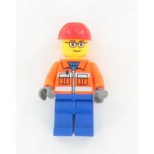 Lego Construction Worker Mini figure w/ glasses sold loose