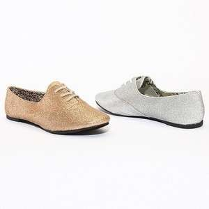 MOGAN SHOES Chic GLITTER OXFORD FLATS Stylish Shimmery Lace Ups Ballet
