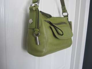 FOSSIL~Hanover~top zip~leather handbag~medium green~NWT
