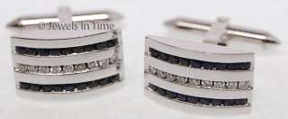 Mens 18K White Gold Diamond & Sapphire Cufflinks   JEWELS IN TIME