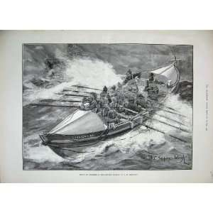 1889 Rescue Fishermen Life Boat Sunlight Llandudno Art