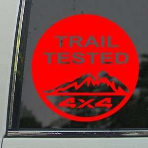 Trail Tested Off Road 4x4 Red Decal Truck Window Red