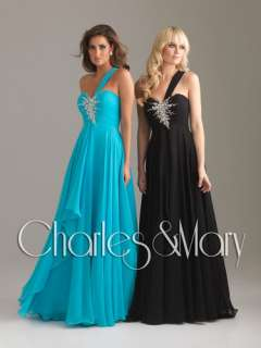 shoulder Chiffon Evening/Prom dress/Party/Ball gown/SZ 6 8 10 12 14