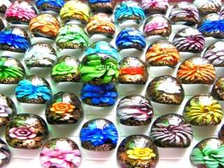 FREE wholesale lots 50ps Mixed Flower Murano Glass Ring