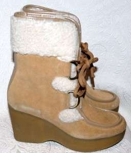 Tommy Girl Tan Suede Shoes Boots Winter Ankle faux Fur Trim 5