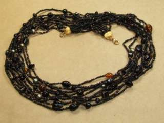 Vintage 10 Strand Black Glass Seed Bead Copper & Art Glass Beaded