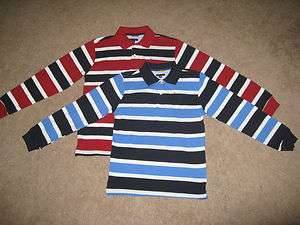 Hilfiger Boy L Sleeve Striped Rugby Polo Shirt Size S M 8 10 12 14