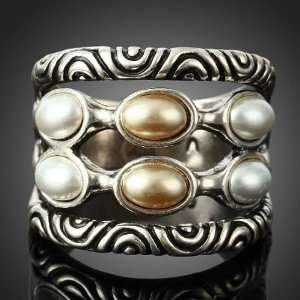 6 Ivory Cream Pearls Cocktail Party 18k White Gold Gp Ring