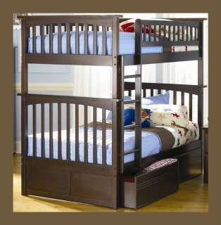 Kids Wood Bunk Bed Twin over Twin   Walnut