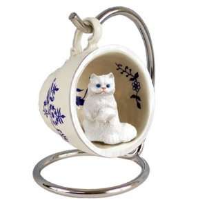 White Persian Red Holiday Tea Cup Cat Ornament