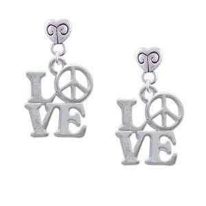 Love with Peace Sign   Silver Plated Mini Heart Charm Earrings