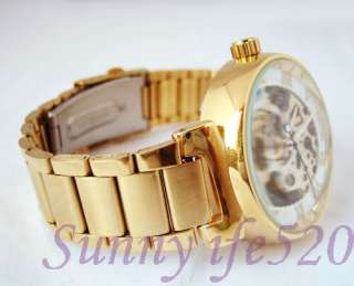 Luxury Gold Steel Unisex Men Lady Auto Mechanical Watch