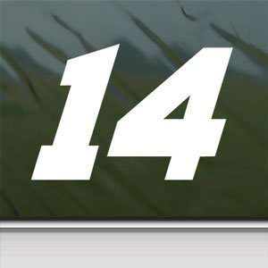 No. 14 NASCAR White Sticker Car Laptop Vinyl Window White
