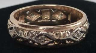 ANTIQUE 14K GOLD ART DECO ROSE CUT DIAMOND ETERNITY WEDDING BAND RING