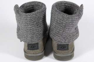 Ugg Australia Kids Cardy Boots 5649 Gray Textile Knit Leather