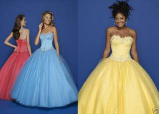 NEW Blue/Yellow/Red Ball Gown Evening Party Dress UK 10