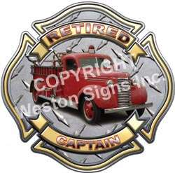 Retired Captain Firefighter Old Fire Engine Decal FF111