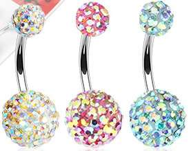 Aurora Borealis Crystal Ferido 316L Surgical Steel Belly Navel Ring