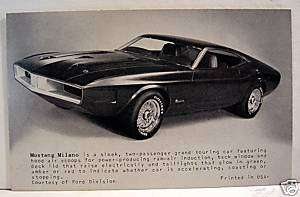 Ford Mustang Milano Sports Car Old Exhibit Vending Card