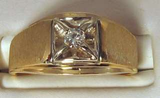 MENS GOLD DIAMOND PINKY RING 0.13CT VVS H 5.3 GRAMS 14K SOLID GOLD