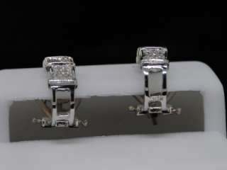 LADIES 10K WHITE GOLD .35CT DIAMOND EARRING HOOPS PAVE