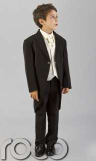 BABY WEDDING PAGE BOY BLACK IVORY TAIL SUIT AGE 3M 8YRS