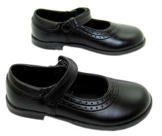 NEW GIRLS TOUGHEES BLACK MARY JANE VELCRO SCHOOL SHOES