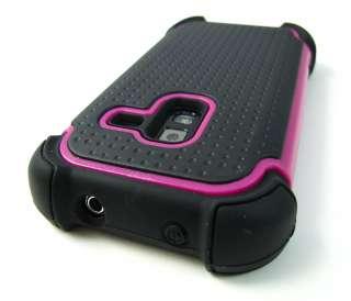PINK TRIM IMPACT TRIPLE COMBO HARD SOFT CASE COVER SAMSUNG CONQUER 4G