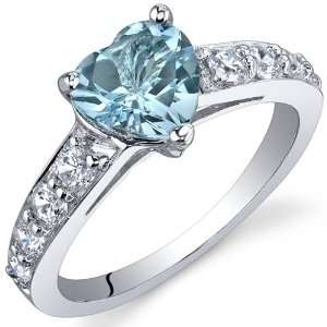 Dazzling Love 1.50 Carats Swiss Blue Topaz Ring in Sterling Silver