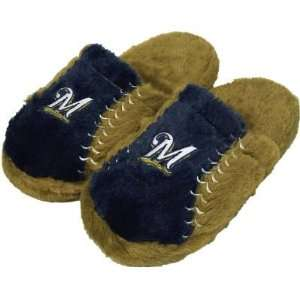 MILWAUKEE BREWERS OFFICIAL LOGO EMBROIDERED SLIPPERS SZ S