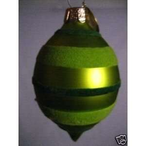 3 Green Bulb Glass Christmas Ornament Finial Striped