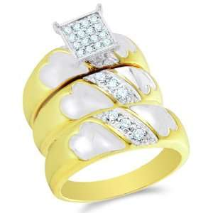 Size 6   10K Two Tone Gold Diamond Mens and Ladies Couple
