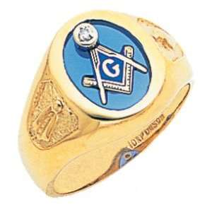Mens 10K Yellow Gold Freemason Masonic Ring a Blue Stone
